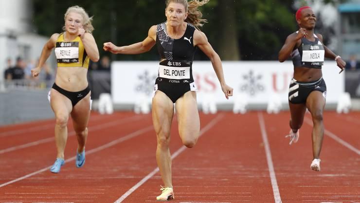 Die Tessiner Sprinterin Ajla Del Ponte (Mitte) hat in dieser Saison über 100 Meter einen bemerkenswerten Leistungssprung gemacht.