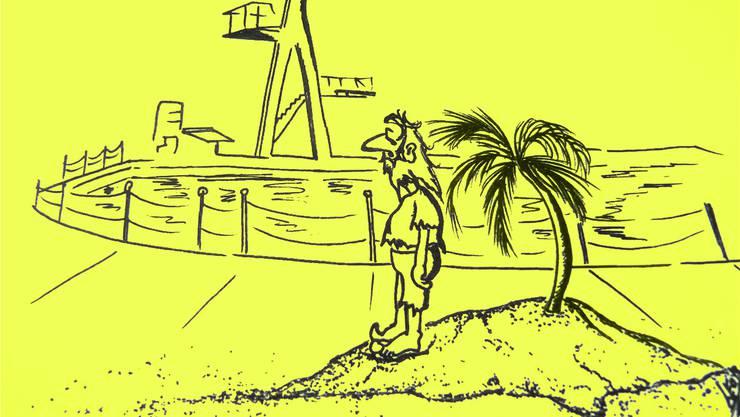 Die Gäste am verregneten Badifest glänzten durch Abwesenheit. Illustration von Leo