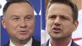 Der amtierende Präsident Duda (links) und sein Herausforderer Trzaskowski.