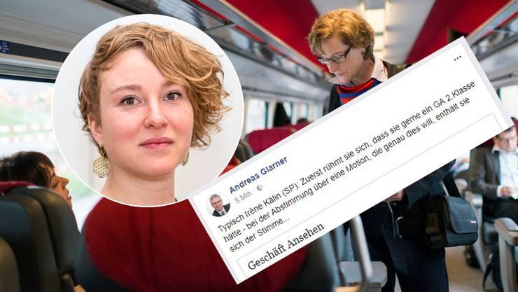 Grüne-Nationalrätin Irène Kälin wollte eigentlich ein 2.-Klass-GA für Bundesparlamentarier. Bei einer Motion, die dies forderte, enthielt sie sich ihrer Stimme, weil diese noch weitere Bereiche tangiert hätte.