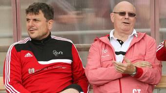Sitzen in Rothrist wieder an der Seitenlinie und streben den Ligaerhalt an: Willy Neuenschwander (rechts) und Assistenztrainer Leonardo Moccia.