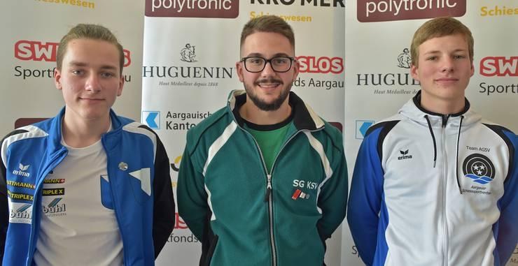 Beim Nachwuchs gewann der St. Galler Max Zöpfl (M.) den C-Match vor dem Zürcher Janis Bader (l.) und dem Aargauer Christoph Wolfgang (r.).