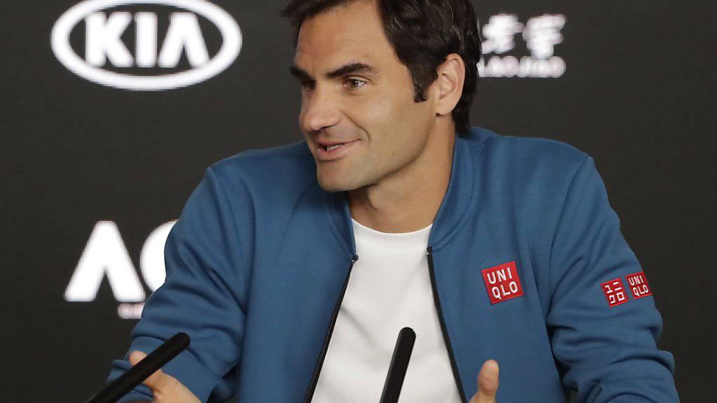 Gut gelaunt und bereit für den Start des Australian Open: Roger Federer in Melbourne