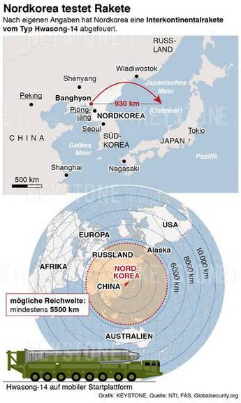Die mögliche Reichweite der Koreanischen Raketen.  (KEYSTONE/Heike Pietsch)