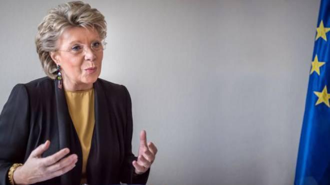 Viviane Reding diese Woche in ihrem Büro in Strassburg. Foto: Mathias Marx