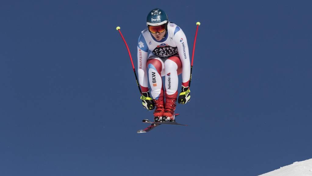 Der Schweizer Niels Hintermann springt vor einem Jahr über den «Hundschopf». Die Lauberhorn-Abfahrten haben Legendenstatus.