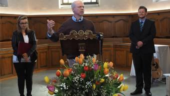 Beim ökumenischen Gottesdienst in Veltheim halten sie die Predigt zu dritt (v. l.): Brigitta Minich, Martin Kress und Christian Vogt.