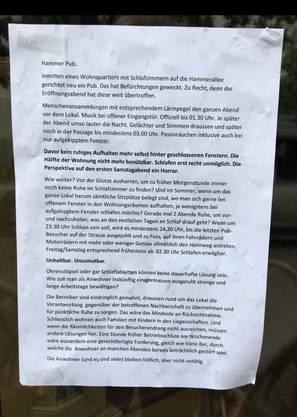 Dies ist das erste anonyme Schreiben der Anwohnerschaft, welches nach der Eröffnung des Hammer Pub Restaurant Ende August 2018 an die Fenster des Lokals angeschlagen war.