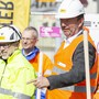 Rolf H. Meier, Leiter Abteilung Tiefbau, 2. von rechts, bei der Pressekonferenz vor dem Spatenstich zur Sanierung der Ortsdurchfahrt Seetalstrasse, beim Kreisel Kehrbrunnenplatz am 25. März 2019 in Schfisheim