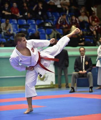 Maurice Rösch mit Side-Kick in der Kata Gankaku.
