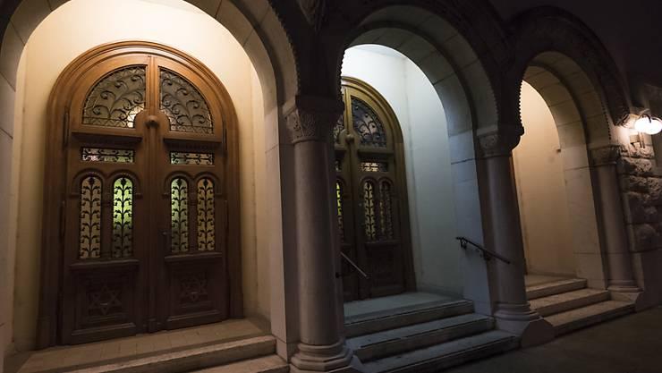 Eine besondere Beleuchtung - hier an der Synagoge in Lausanne - erinnert an die Reichspogromnacht vor 80 Jahren.