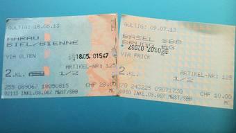 Links das bisherige, rechts das neue Billet der SBB.