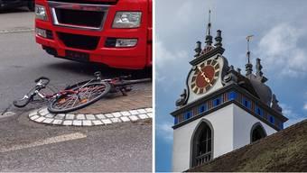 Links der Unfallort am Kreuzplatz, wo der Kirchenpfleger verunglückte. Rechts der bereits renovierte Turm der Stadtkirche.