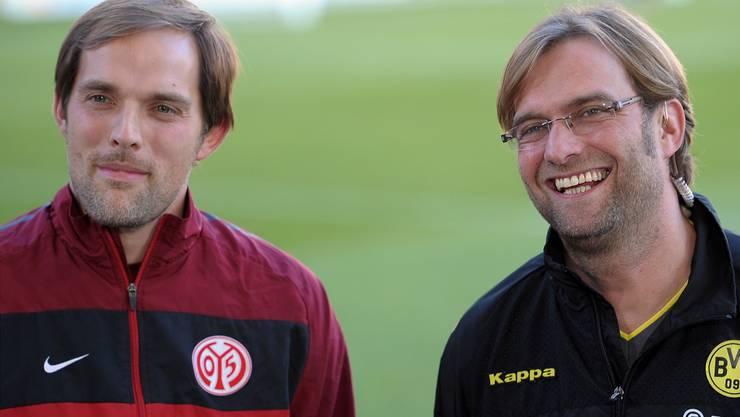 Der scheidende BVB-Trainer Jürgen Klopp (rechts) und sein möglicher Nachfolger Thomas Tuchel (links).