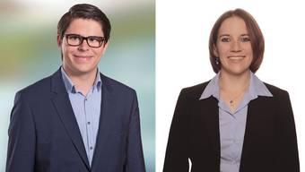 Schülerpräsident Aurel Gautschi und JSVP-Präsidentin Tonja Kaufmann.