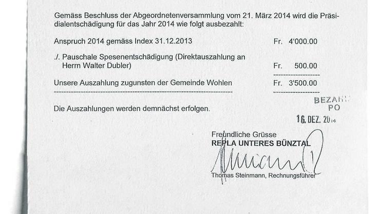 Das belastende Dokument: Für Walter Dublers Gegner ein Beleg, dass sich der Wohler Ammann nicht an die Regelung von Nebeneinkünften gehalten hat.