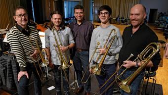 Von links: Ian Bousfield, Gabriele Marchetti, Kaspar Zehnder (Chefdirigent), Joaquin Andreu Vicente und Beat Ryser Firmin.