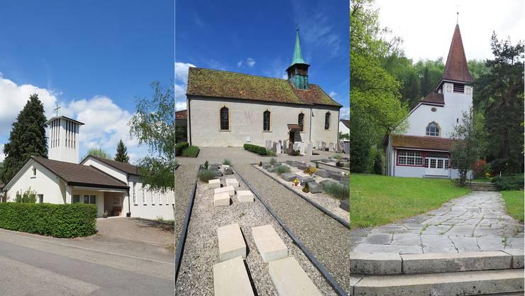 Diese Kirchen werden nicht mehr benötigt (v.l.): Christuskirche in Hägendorf, Dorfkirche St. Peter und Paul in Starrkirch-Wil und Kreuzkirche in Trimbach.