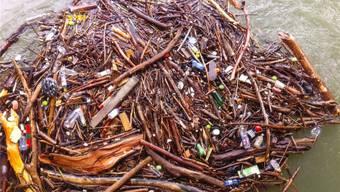 Abfallproblem im Wasser: Holz und Plastikabfall unterhalb des Kraftwerks Wildegg-Brugg. Pro Natura/ZVG