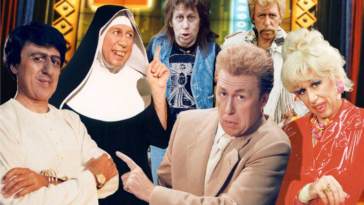 Viktor Giacobbo in «Viktors Spätprogramm» als Rajif, Schwester Viktoria, Fredi Hinz, Herr Klöti, Harry Hasler und Debbie Mötteli (v.li.n.re.), Bildmontage, 2001