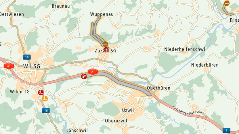 Autobrand auf der A1 bei Uzwil