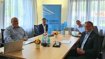 Generalversammlung im kleinen Kreis. Roger Hochuli, Peter Büttler, Michel Nyffenegger und Stephan Berger (von links).