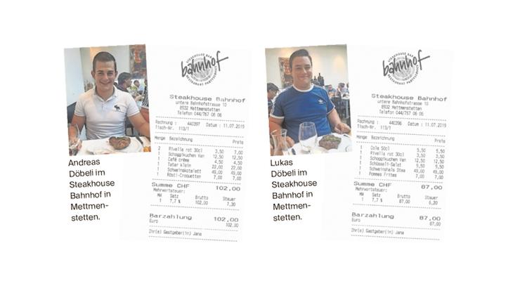 Die Gebrüder Döbeli und ihr Essen im Steakhaus Bahnhof.