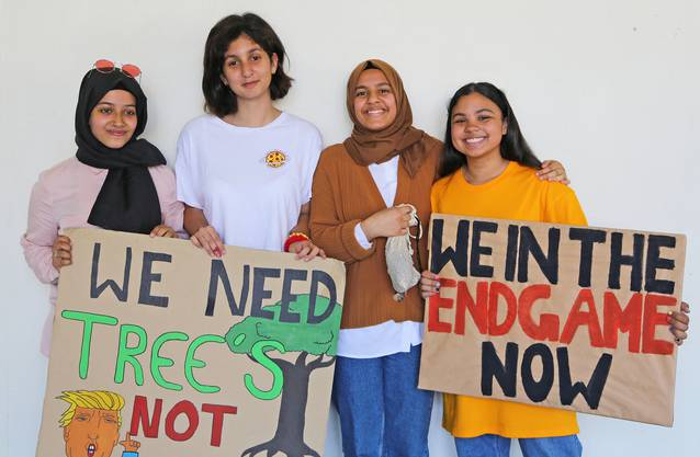 Rawan Musbah, Ruken Özcan, Salsabil El Omami und Eveline Heinrich (vl.) hat die Dramatik des Klimawandels zu Vorträgen veranlasst.