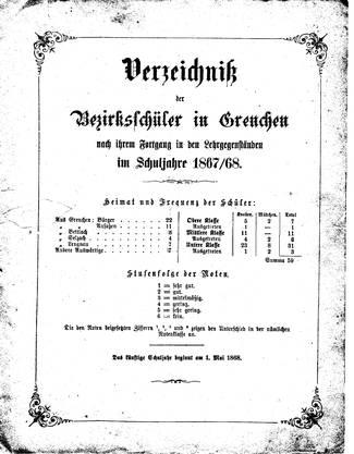 Der Jahresbericht 1867/68.