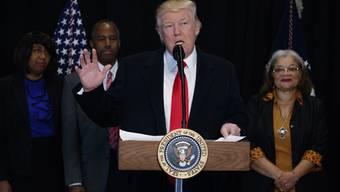 Donald Trump am Dienstag bei einem Besuch des Museums für afroamerikanische Geschichte und Kultur in Washington.