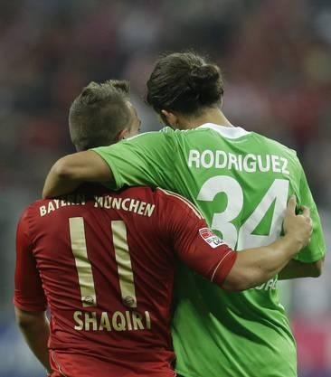In der Bundesliga Gegenspieler, in der Schweiz beide in der Nati: Shaqiri und Rodriguez.