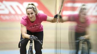 Emilie Roy im Velodrome Grenchen an der «Swiss Track Cycling Challenge»