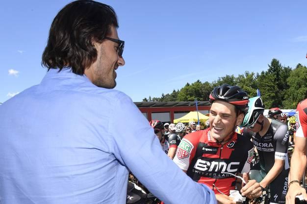 Fabian Cancellara (links) mit Silvan Dillier kurz vor dem Start.