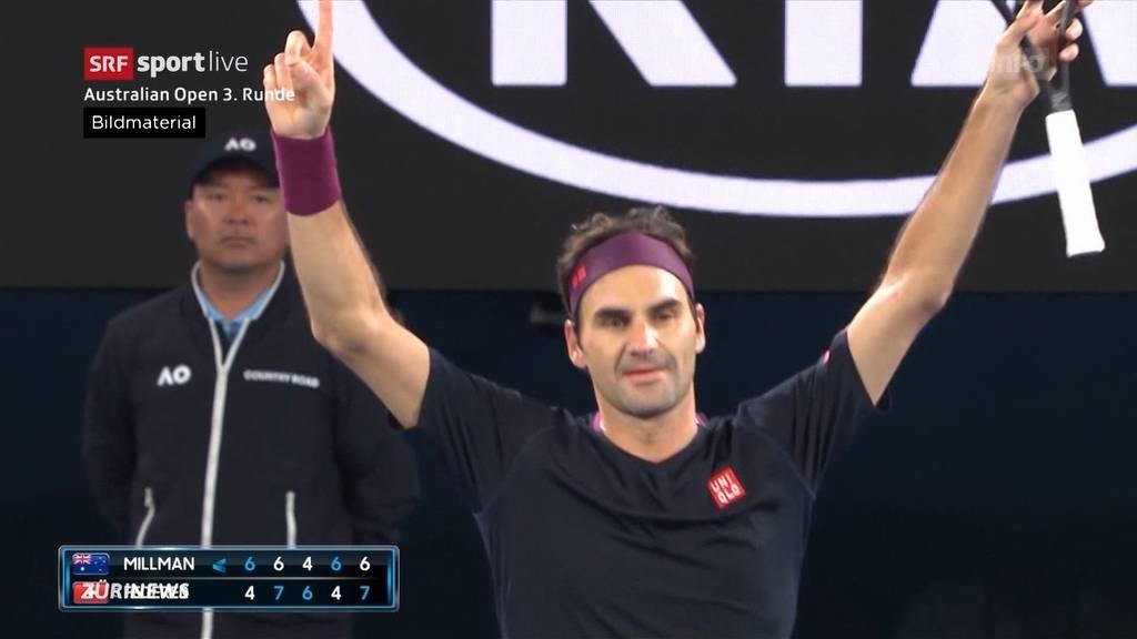 Nerven-Krimi: Roger Federer gewinnt in Melbourne ganz knapp