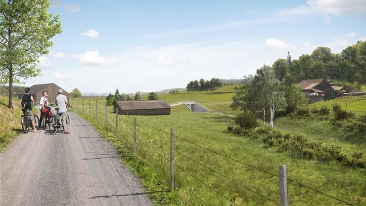 Visualisierung des Damms vom Staffelbacher Mühleweg.