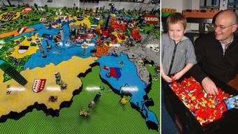 Stephan Oetiker und Sohn Linus spielen beide gerne mit Legos.