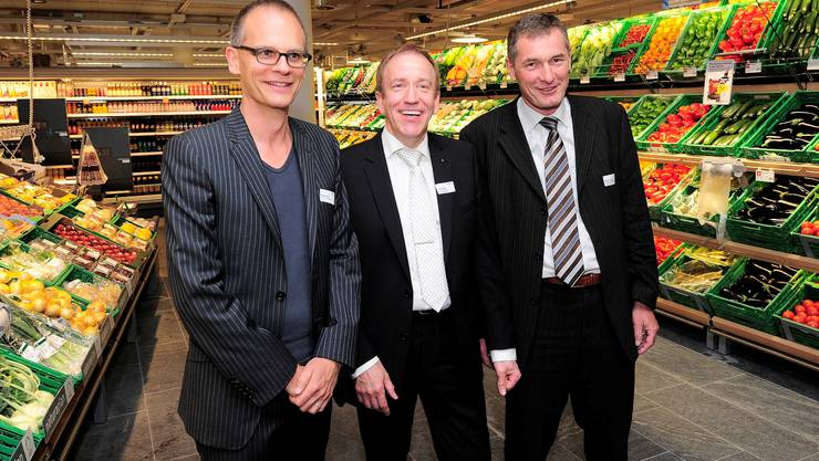 Robert Hösl, Partner Herzog & de Meuron, André Mislin, Leiter Coop (v.l.)