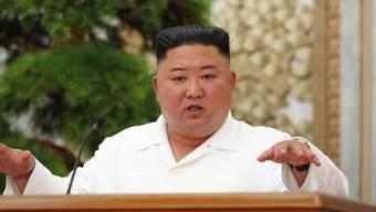 HANDOUT - Dieses von der staatlichen nordkoreanischen Nachrichtenagentur KCNA am 03.07.2020 zur Verfügung gestellte Foto zeigt Kim Jong Un, Machthaber von Nordkorea, der eine Sitzung des Politbüros des Zentralkomitees der Arbeiterpartei Koreas leitet. A Foto: -/KCNA/dpa - ACHTUNG: Nur zur redaktionellen Verwendung im Zusammenhang mit der aktuellen Berichterstattung und nur mit vollständiger Nennung des vorstehenden Credits