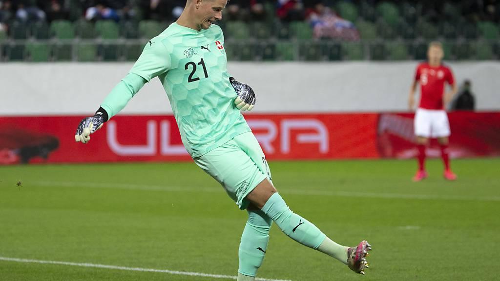 Jonas Omlin bei seinem Länderspiel-Debüt am Mittwoch in St. Gallen gegen Kroatien