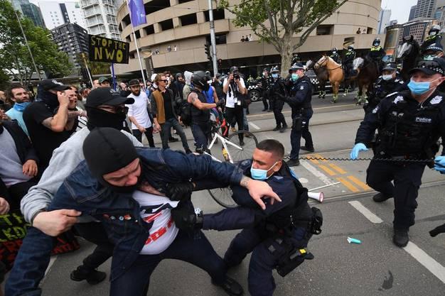 In Melbourne kam es am 23. Oktober zu Protesten gegen die Corona-Massnahmen. (Bild: Keystone)