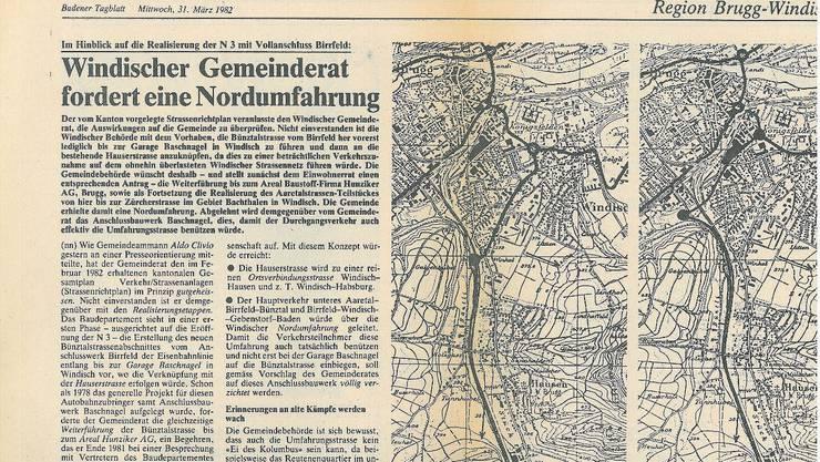 Berichterstattung im «Brugger Tagblatt» vom 7.März 1973 über die Forderung des Quartiervereins.