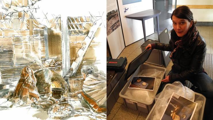 Karin Zuberbühler, Kuratorin des Archäologischen Museums Kanton Solothurn, zeigt die noch verpackten Ausstellungsstücke von «Wer is(s)t denn da?» in Aeschi.