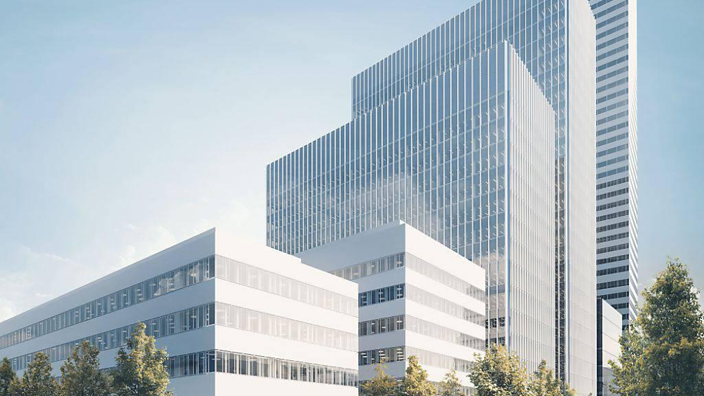 In unmittelbarer Nachbarschaft zum im Bau befindlichen Büroturm (im Hintergrund) baut Roche ein neues Forschungszentrum mit vier unterschiedlich hohen Neubauten.