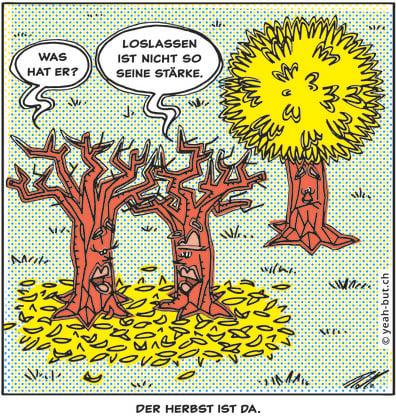 Ein Cartoon zum Thema «Herbst» von Roman Hofer.