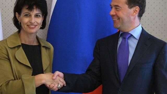 Doris Leuthard und der russische Präsident Dmitri Medwedew