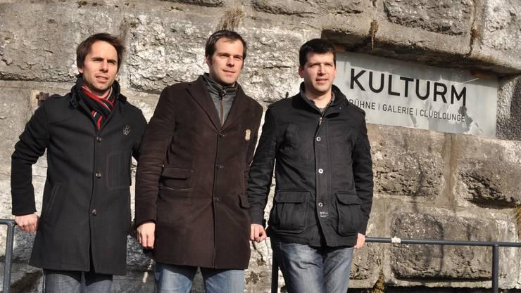 Jürg Wirz, Rafael Waber und Ivo Hutzli, Betriebsleitungsmitglieder im «Kulturm».  zvg