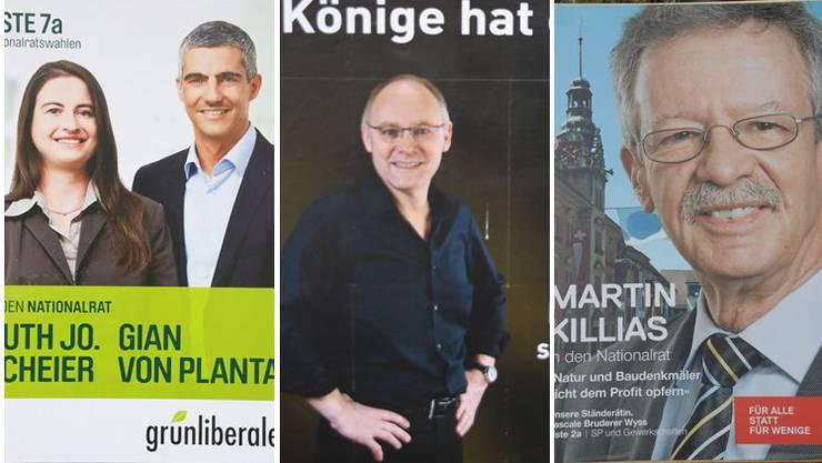 Drei der Wahlplakate, die der Werber bewertet hat.