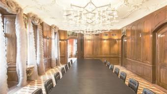 Das Palais Rechberg dient dem Regierungs- und Kantonsrat zu Repräsentationszwecken. Im Bild der Saal im 2. Obergeschoss.Hochbauamt Kanton Zürich/Mark Röthlisberger