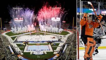Jonas Hiller holt sich im Outdoor-Spiel zwischen den Anaheim Ducks und den Los Angeles Kings vor 54'009 Zuschauern einen Shutout