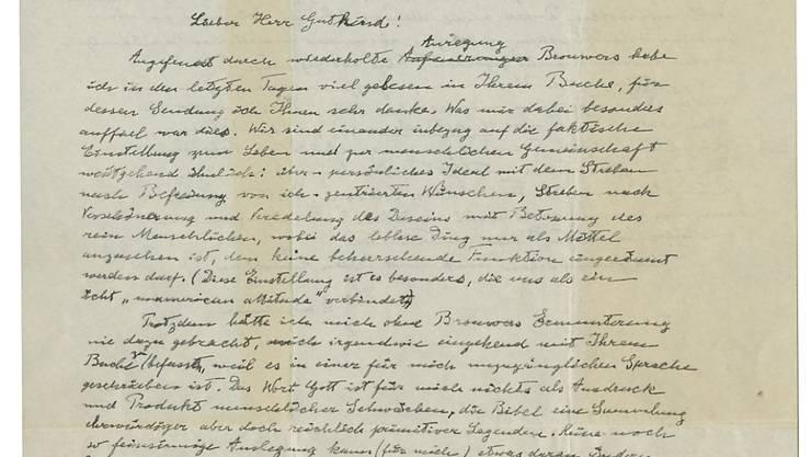Die erste Seite von Einsteins Brief aus dem Jahr 1954.
